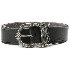 SAINT LAURENT Celtic Monogram Black Leather Belt